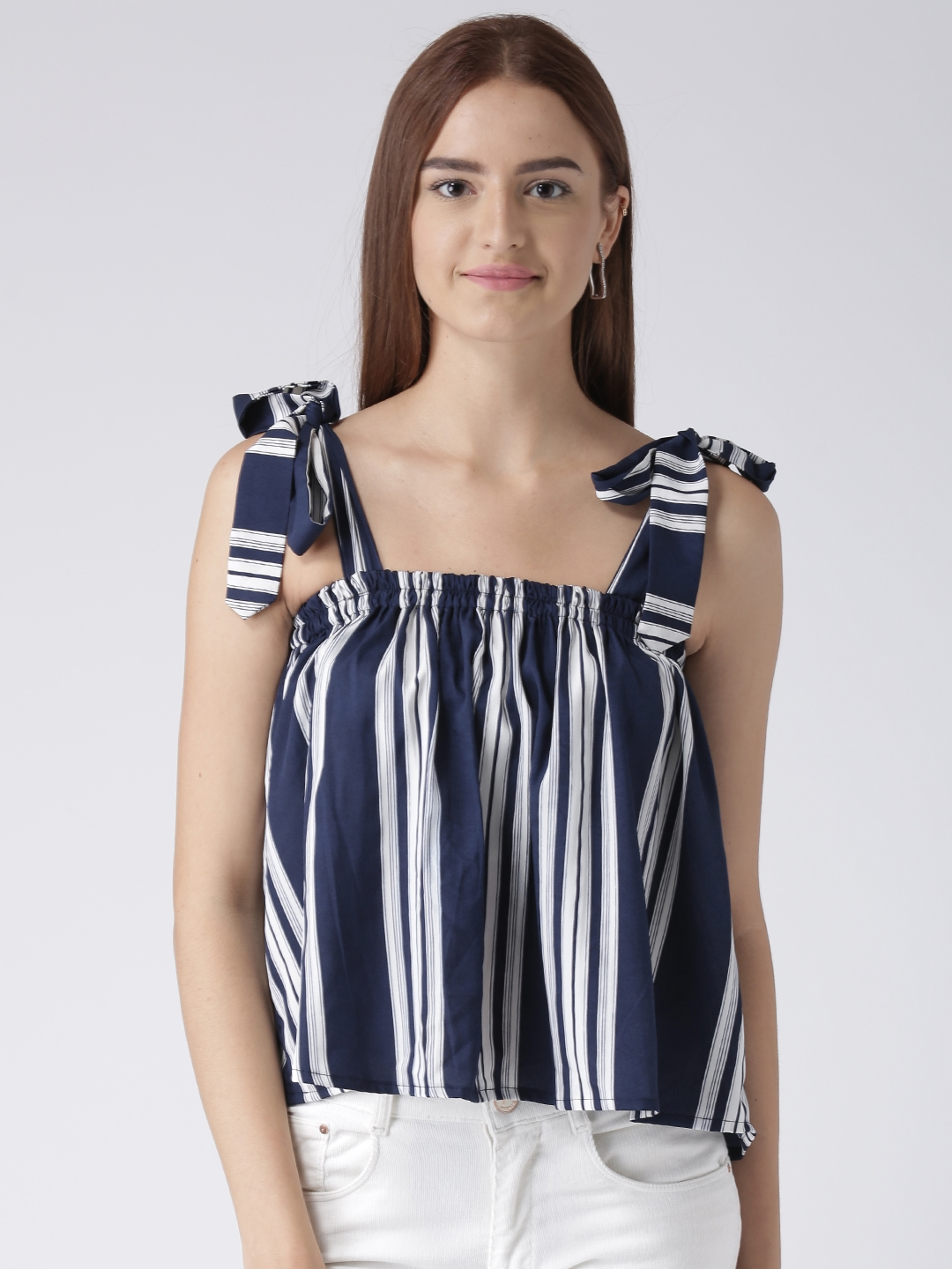 55736bf0ef618d Buy Pinwheel Women Navy Blue   White Striped A Line Top - Tops for ...