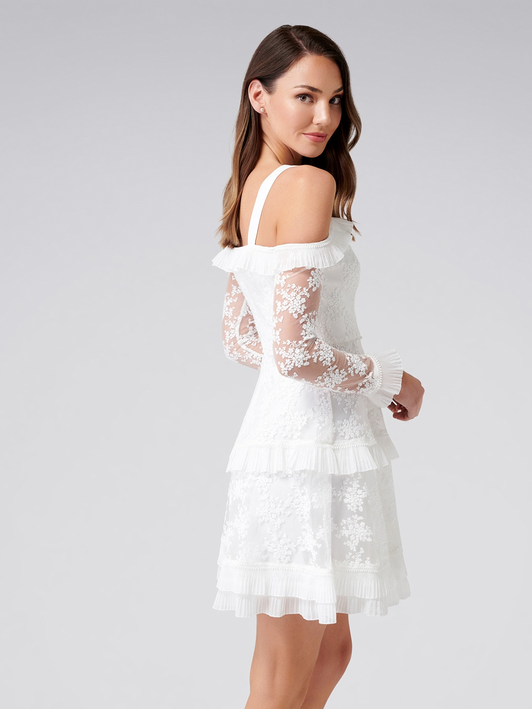 95113d58a3d Buy Forever New Women White Self Design Fit And Flare Dress ...