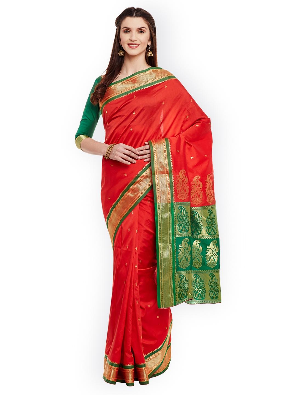 262aee7262 Chhabra 555 Red Art Silk Woven Design Banarasi Saree