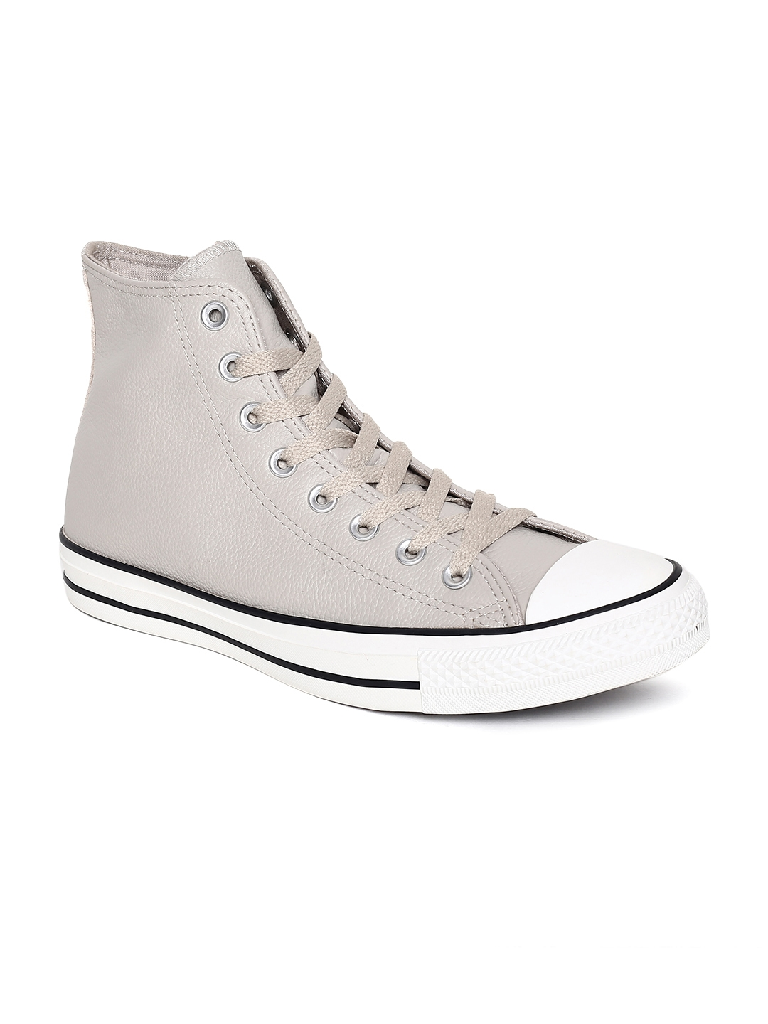 9a5b7a0b1771 Buy Converse Unisex Cream Coloured Solid Leather Mid Top Sneakers ...