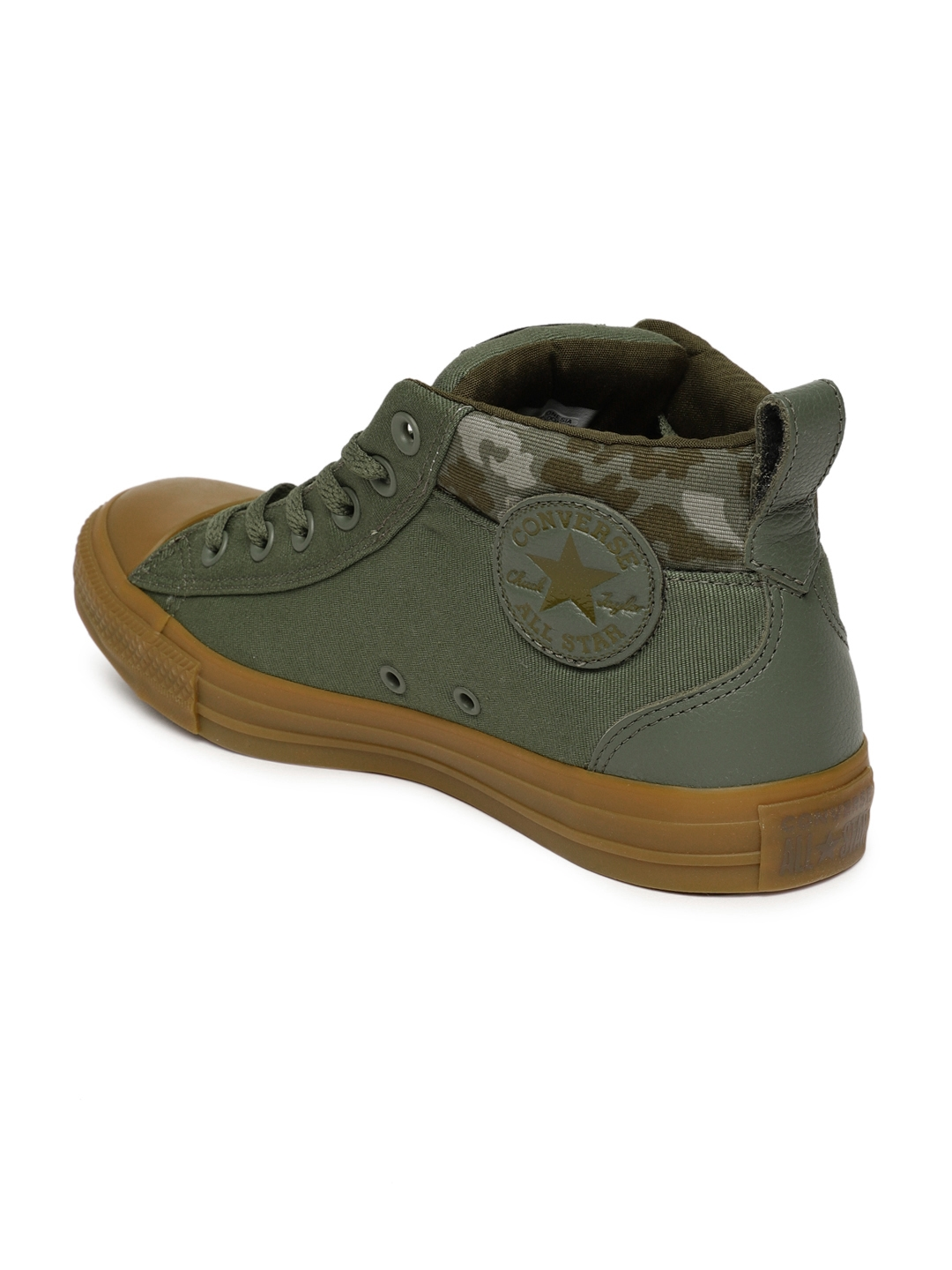 17a8c0c683b2 Buy Converse Unisex Olive Solid Canvas Mid Top Sneakers - Casual ...
