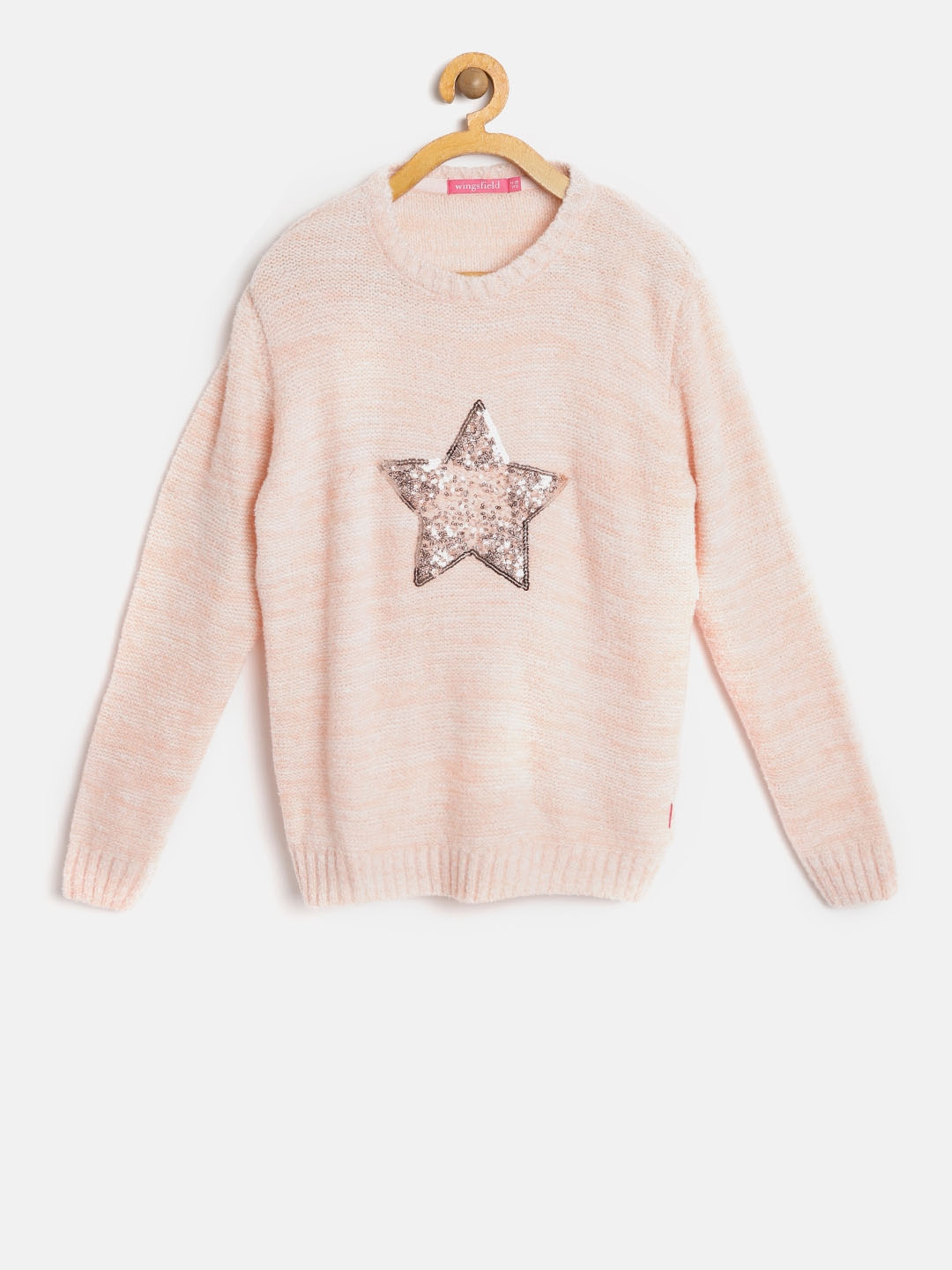 e40ba945d78b Buy Wingsfield Girls Peach Coloured Self Design Pullover - Sweaters ...