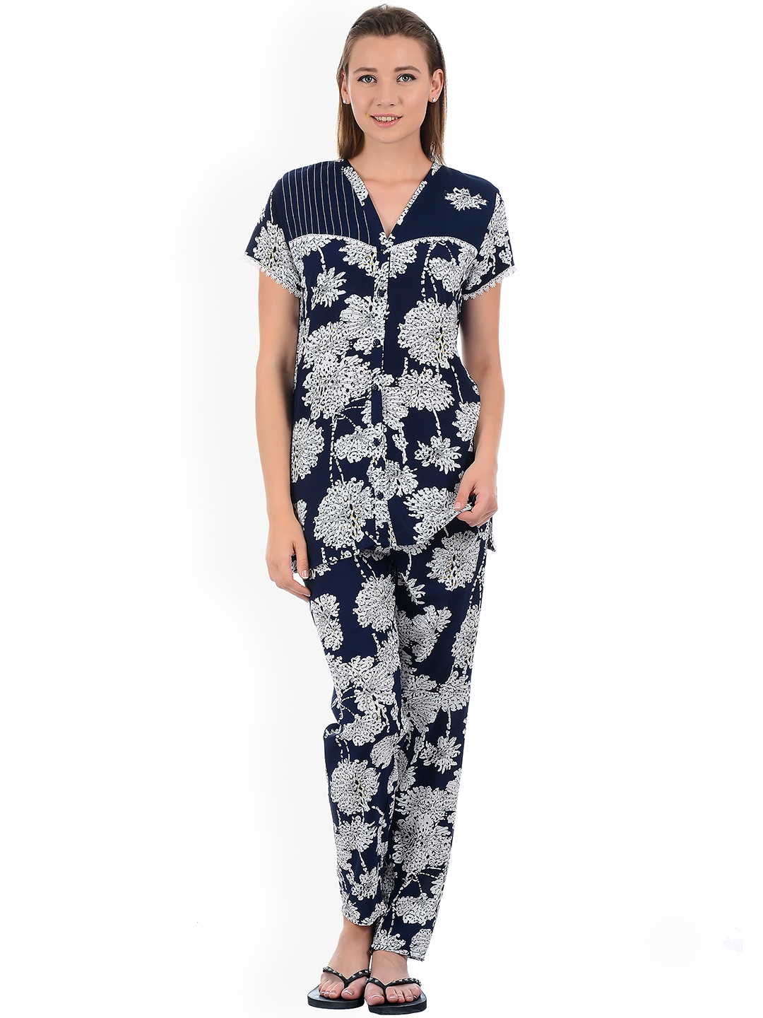 Sweet Dreams Women Navy Blue   Off-White Printed Night Suit 284718CA 0529e33c1