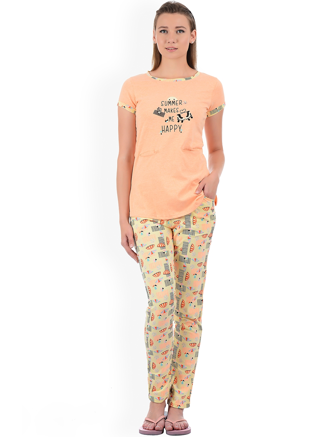 e10d9597fc8f Sweet Dreams Women Peach-Coloured & Yellow Printed Night Suit 225718CA