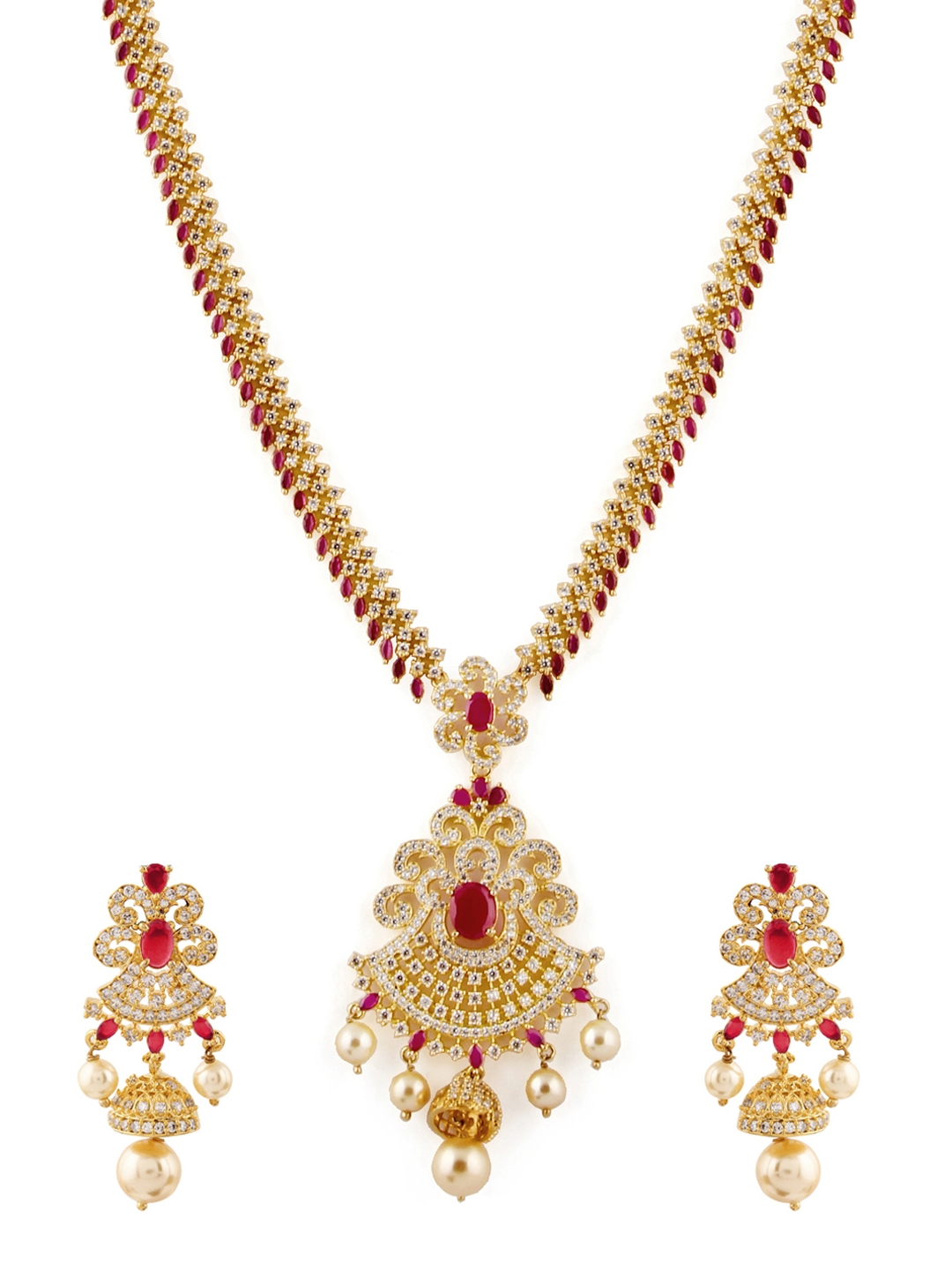 e54e2f620c Buy Rubans Gold Toned & Red Gold Plated Handcrafted Jewellery Set ...