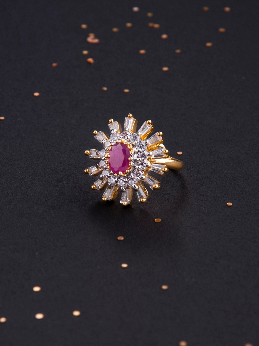 df78150a0 Buy Rubans Women Gold Plated CZ And Faux Ruby Studded Cocktail Ring ...