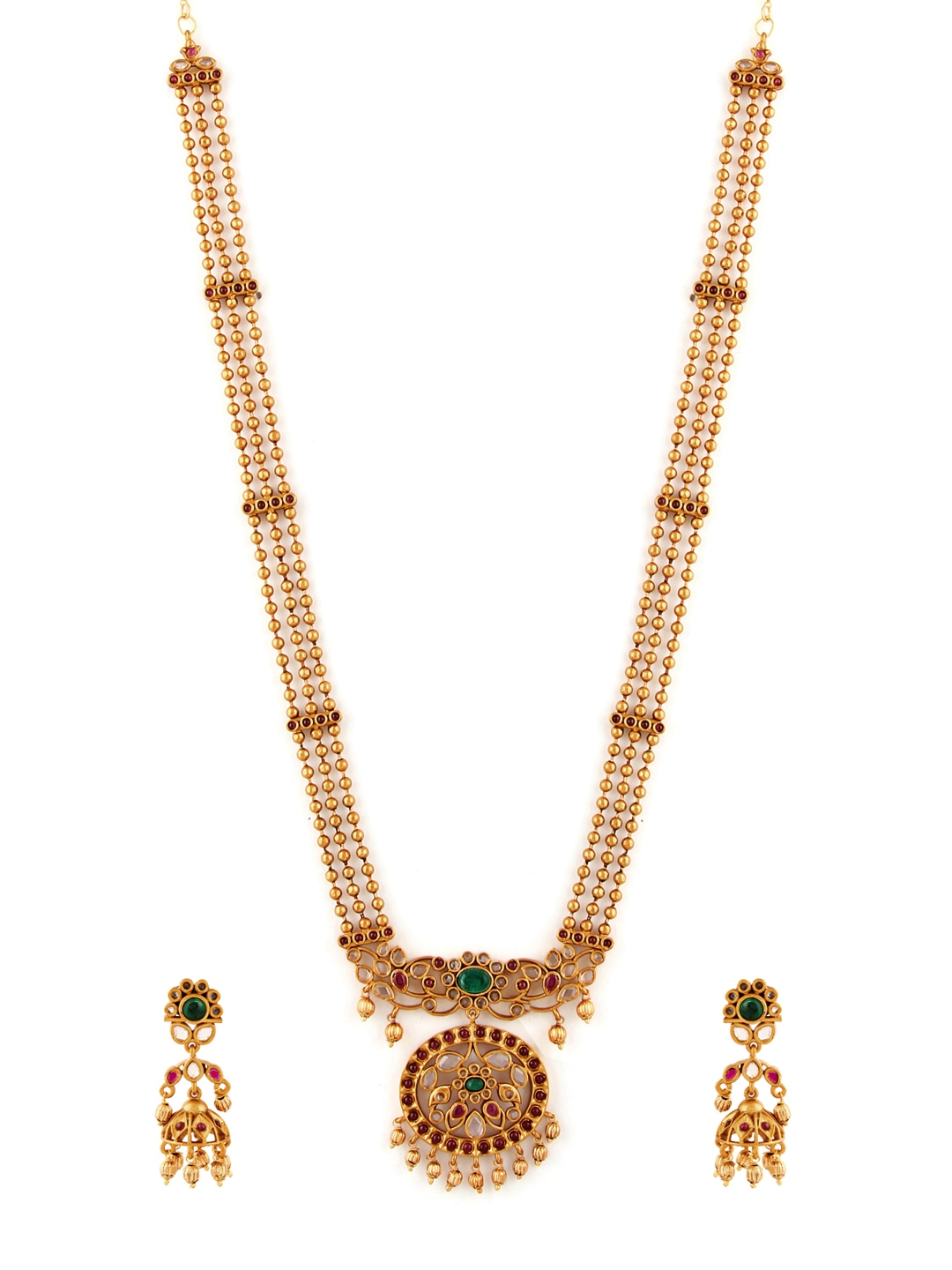 89b9979f0d Buy Rubans Women Red Gold Plated Handcrafted Jewellery Set ...
