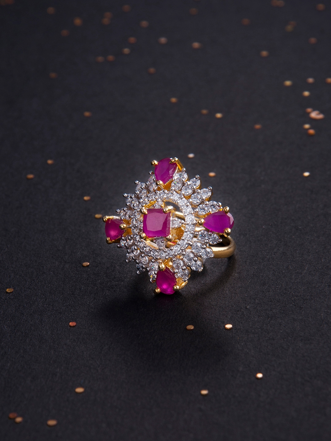 8d9308c4d Buy Rubans Women Pink Handcrafted Gold Plated CZ And Ruby Studded ...