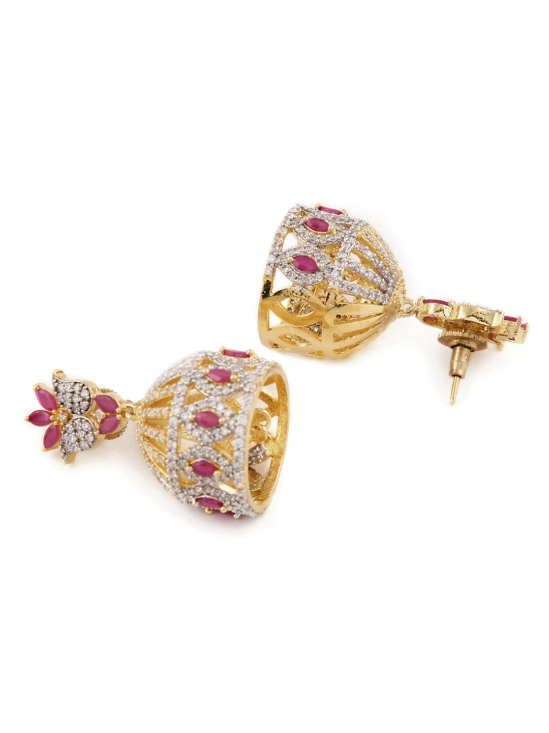 9418e9f46 Buy Rubans Gold Toned & Red Gold Plated Dome Shaped Jhumkas ...