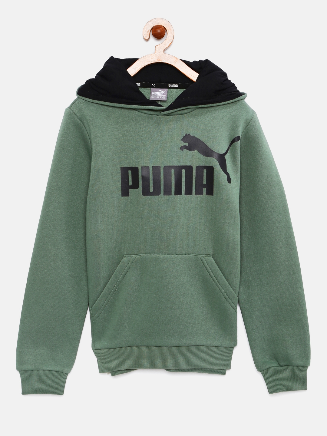 52d404111 Buy Puma Boys Olive Green Printed Hooded Sweatshirt - Sweatshirts ...