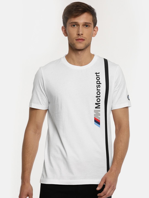 3aa51ae4a28 Buy Puma Men White Printed BMW MMS Logo T Shirt - Tshirts for Men ...