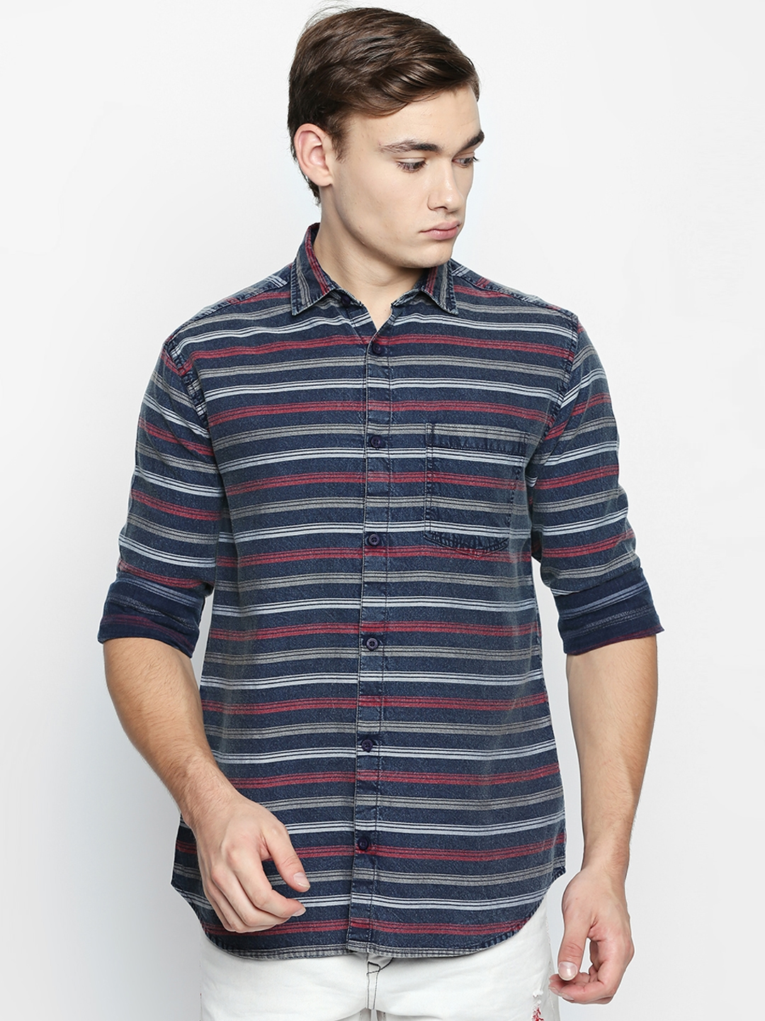 a831f2ce5 Buy Disrupt Men Navy Blue & Red Regular Fit Striped Casual Shirt ...