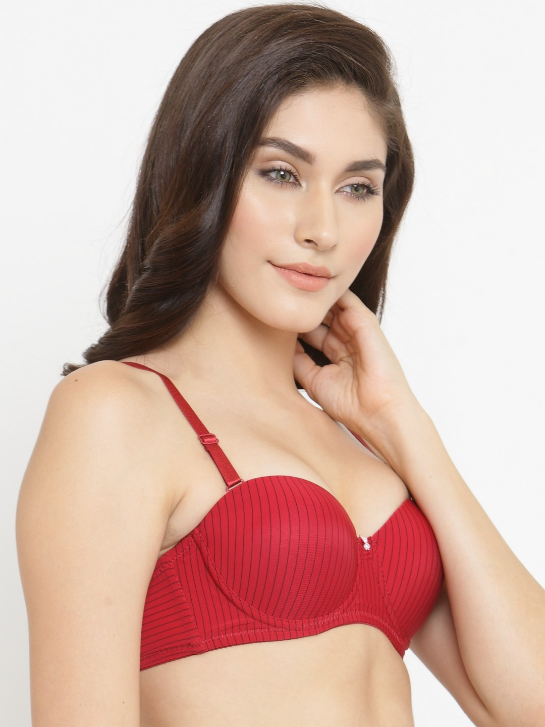 2218c137361 Buy PrettyCat Red Printed Underwired Lightly Padded Push Up Bra PC ...
