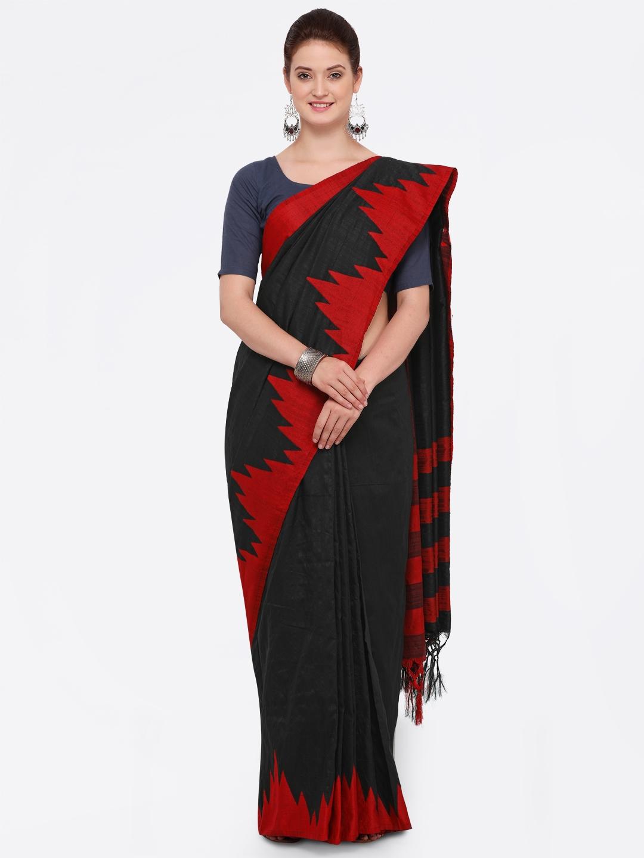 f7ac3a3cc Buy Sugathari Black   Red Jute Silk Solid Mysore Silk Saree - Sarees ...