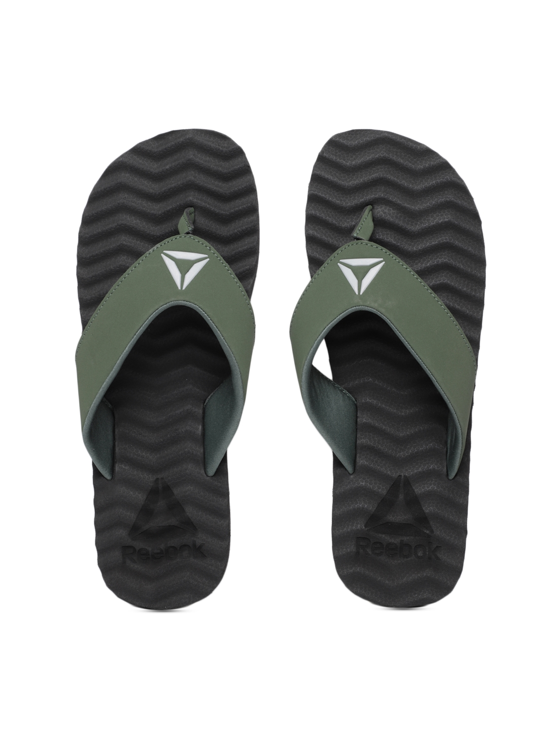 82860091f Buy Reebok Men Green Solid FEZ Thong Flip Flops - Flip Flops for Men ...