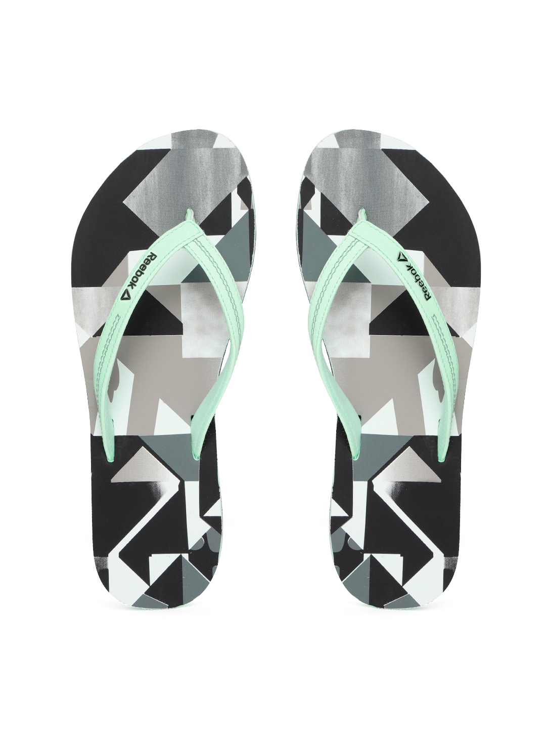 5adbb434f Buy Reebok Women Green   Black Cash Printed Thong Flip Flops - Flip ...