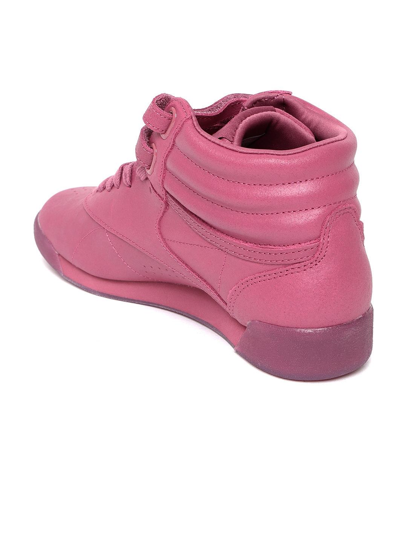 Buy Reebok Classic Women Pink Freestyle HI Suede Mid Top Sneakers ... 3c8b5e8e9c