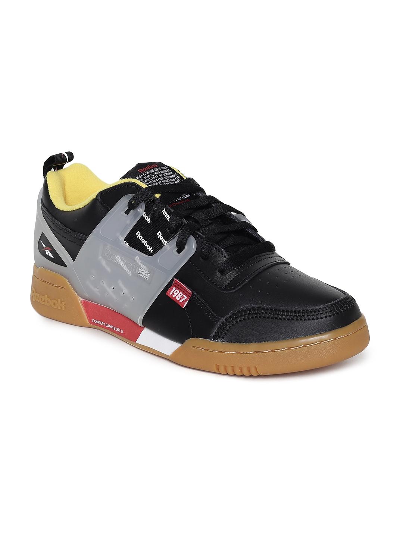 Reebok Classic Unisex Black   Grey Workout Plus ATI Leather Sneakers 2dc2eed34
