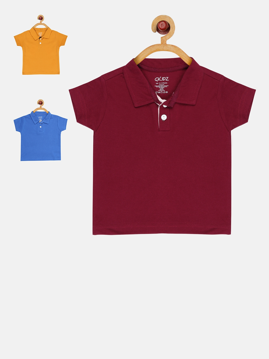 e4a595cc Buy GKIDZ Pack Of 3 Polo Collar T Shirts - Tshirts for Unisex ...