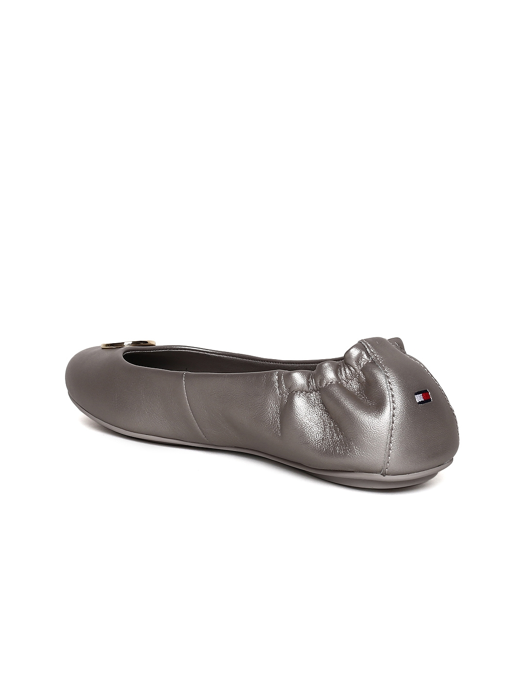 f80192e87 Buy Tommy Hilfiger Women Gunmetal Toned Solid Leather Ballerinas ...