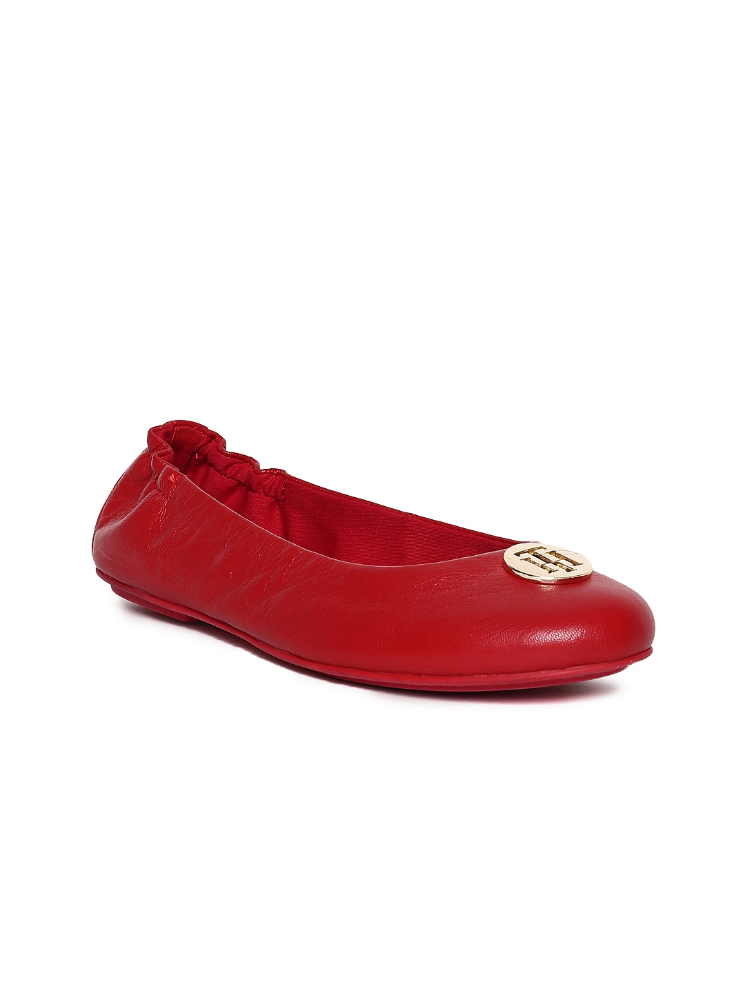 63f66d77e8ab Buy Tommy Hilfiger Women Red Solid Leather Ballerinas - Flats for ...