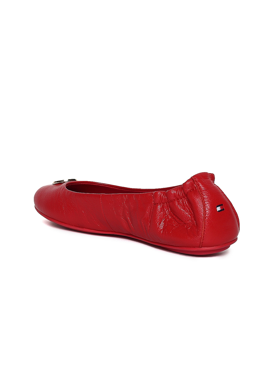 82047a7c9 Buy Tommy Hilfiger Women Red Solid Leather Ballerinas - Flats for ...