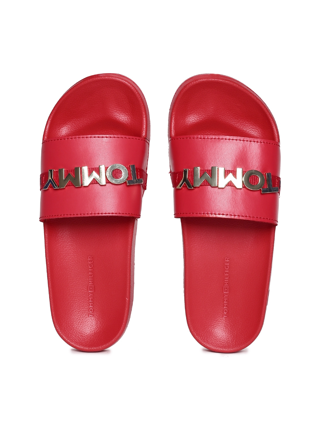 56fb713ec22d5 Buy Tommy Hilfiger Women Red Solid Beach Sliders - Flip Flops for ...