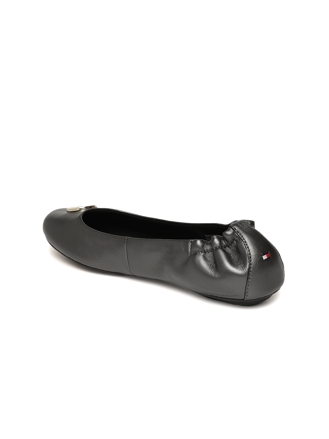 677b5e44d Buy Tommy Hilfiger Women Charcoal Solid Pearlized Leather Ballerinas ...