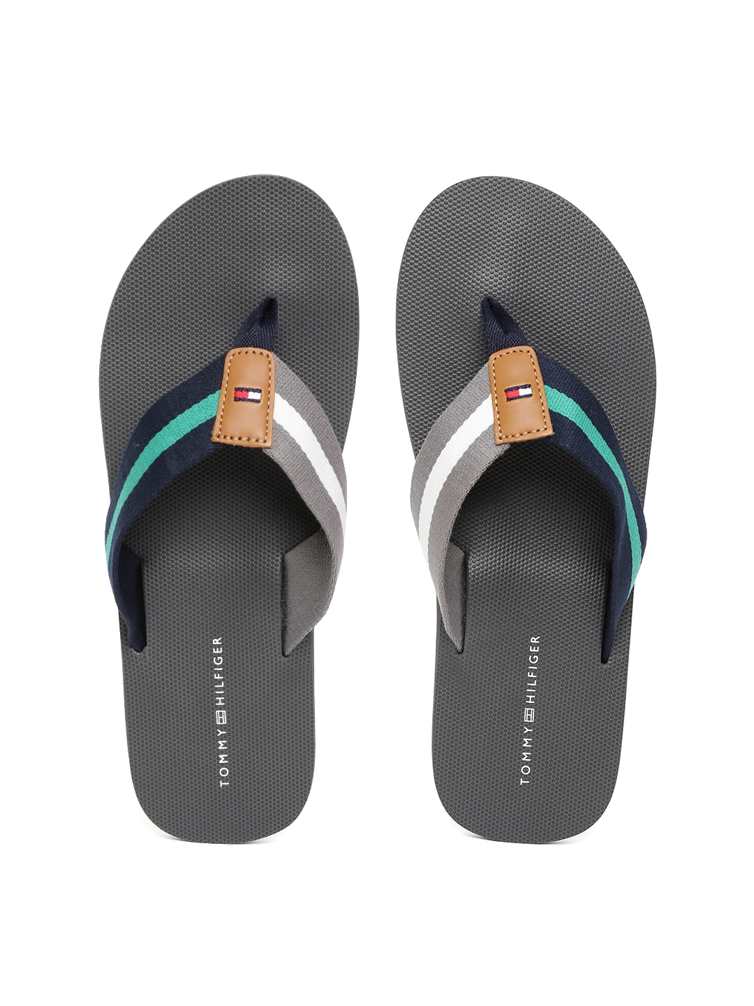 7e39dc2d0069 Buy Tommy Hilfiger Men Grey   Navy Blue Striped Thong Flip Flops ...