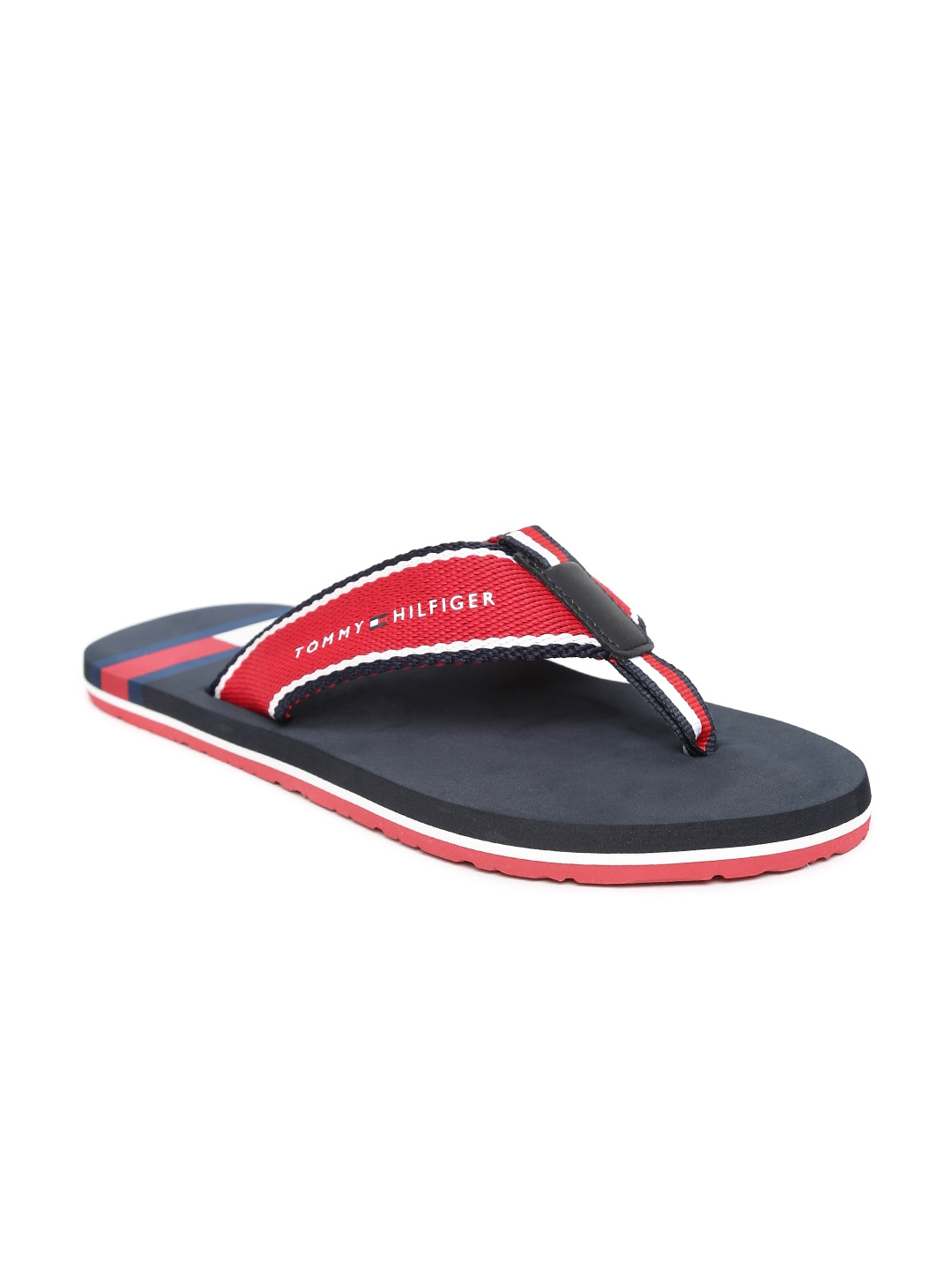 9d6b197da030bb Buy Tommy Hilfiger Men Red   Navy Printed Thong Flip Flops - Flip ...