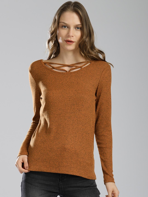 d0c8f66275896a Buy Bossini Women Brown Solid Top - Tops for Women 6919313