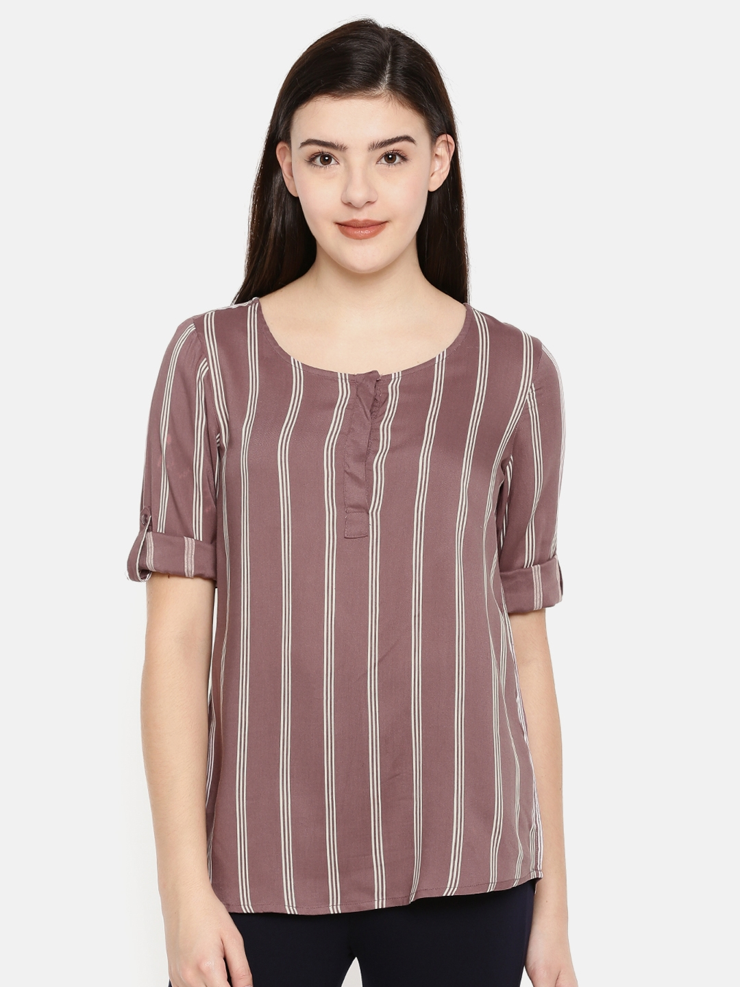 df89fafc7f Buy Fame Forever By Lifestyle Women Mauve Striped Top - Tops for ...