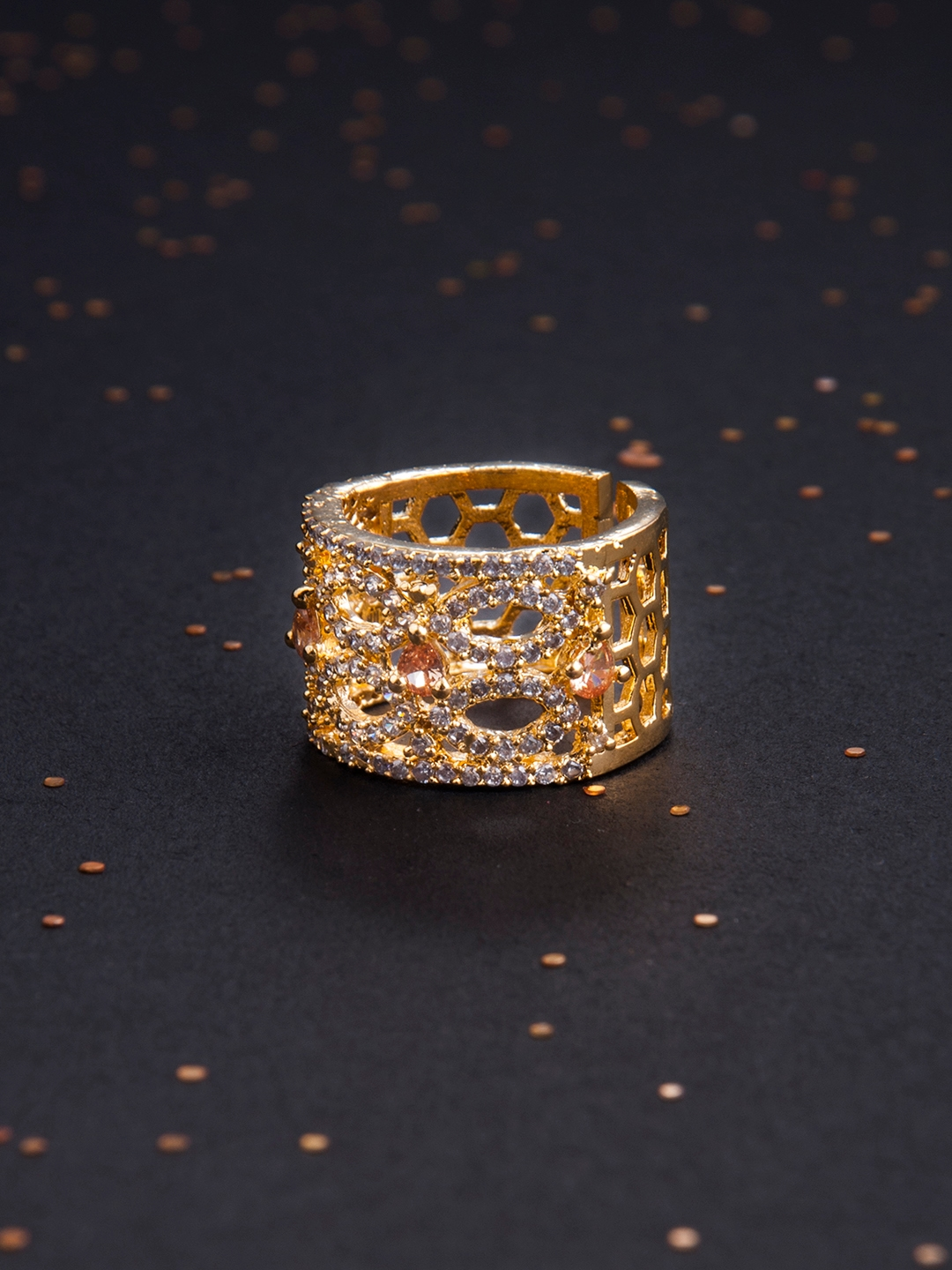 67dec6887 Rubans Finely Handcrafted Gold Plated CZ and Faux Ruby Studded Statement  Ring