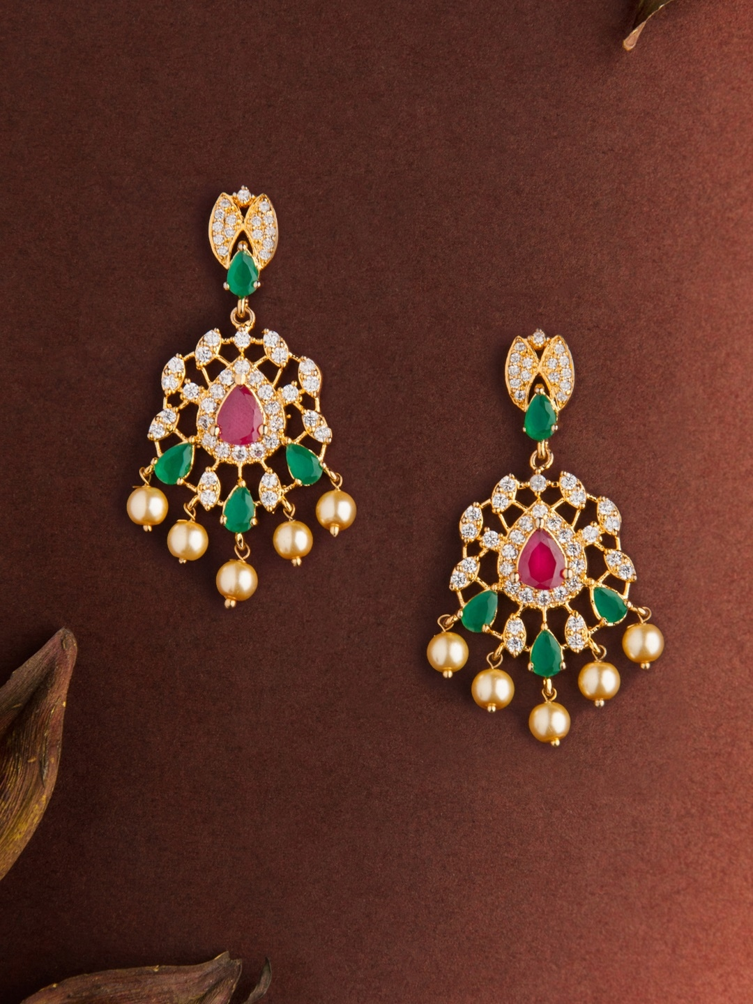 c59228235 Buy Rubans Women Gold Toned & Green Gold Plated Floral Drop Earrings ...