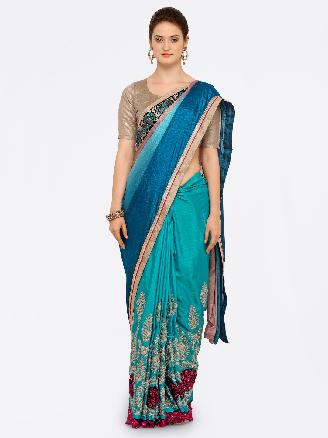 9bd6228884 Buy Kalista Women Blue & Grey Poly Georgette Embroidered Saree ...