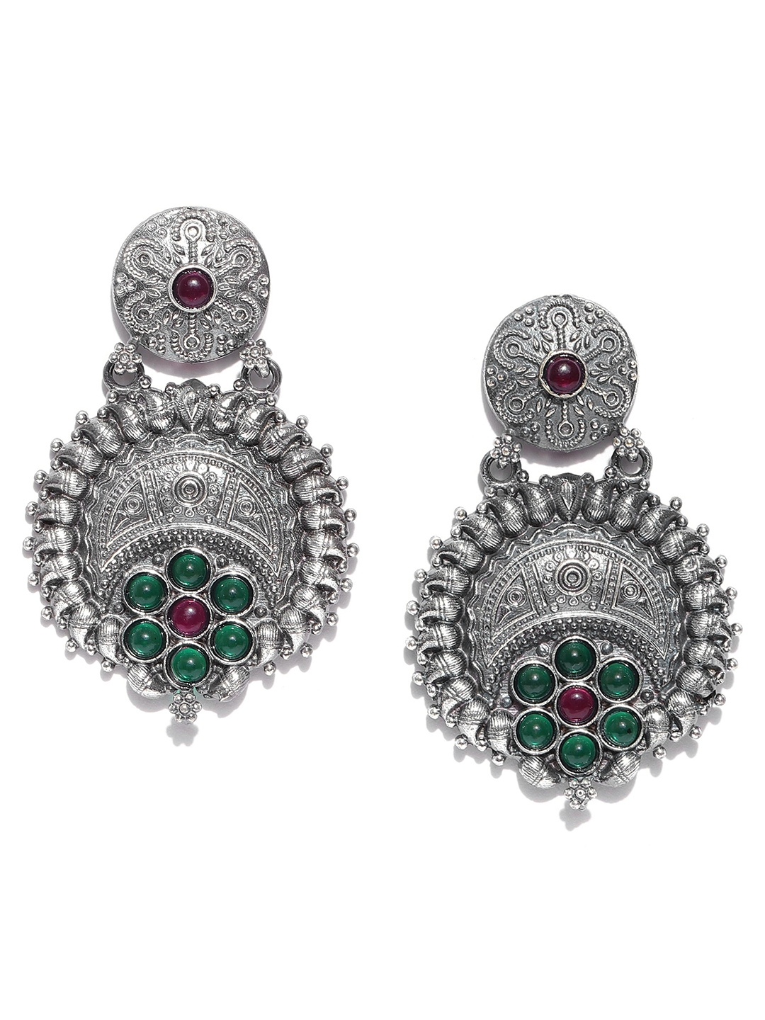 d5b14265f Infuzze Green Oxidised Silver-Plated Beaded & Textured Classic Drop Earrings
