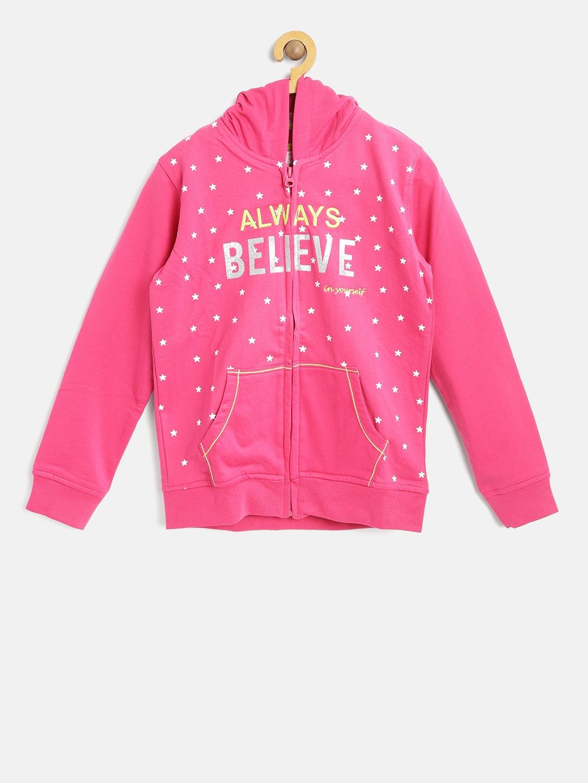 1a9d756207ba Buy 612 League Girls Pink Printed Hooded Sweatshirt - Sweatshirts ...
