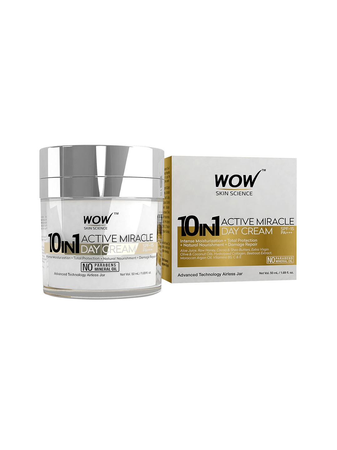 WOW Skin Science 10 in 1 Active Miracle Day Cream SPF 15 PA++   50ml