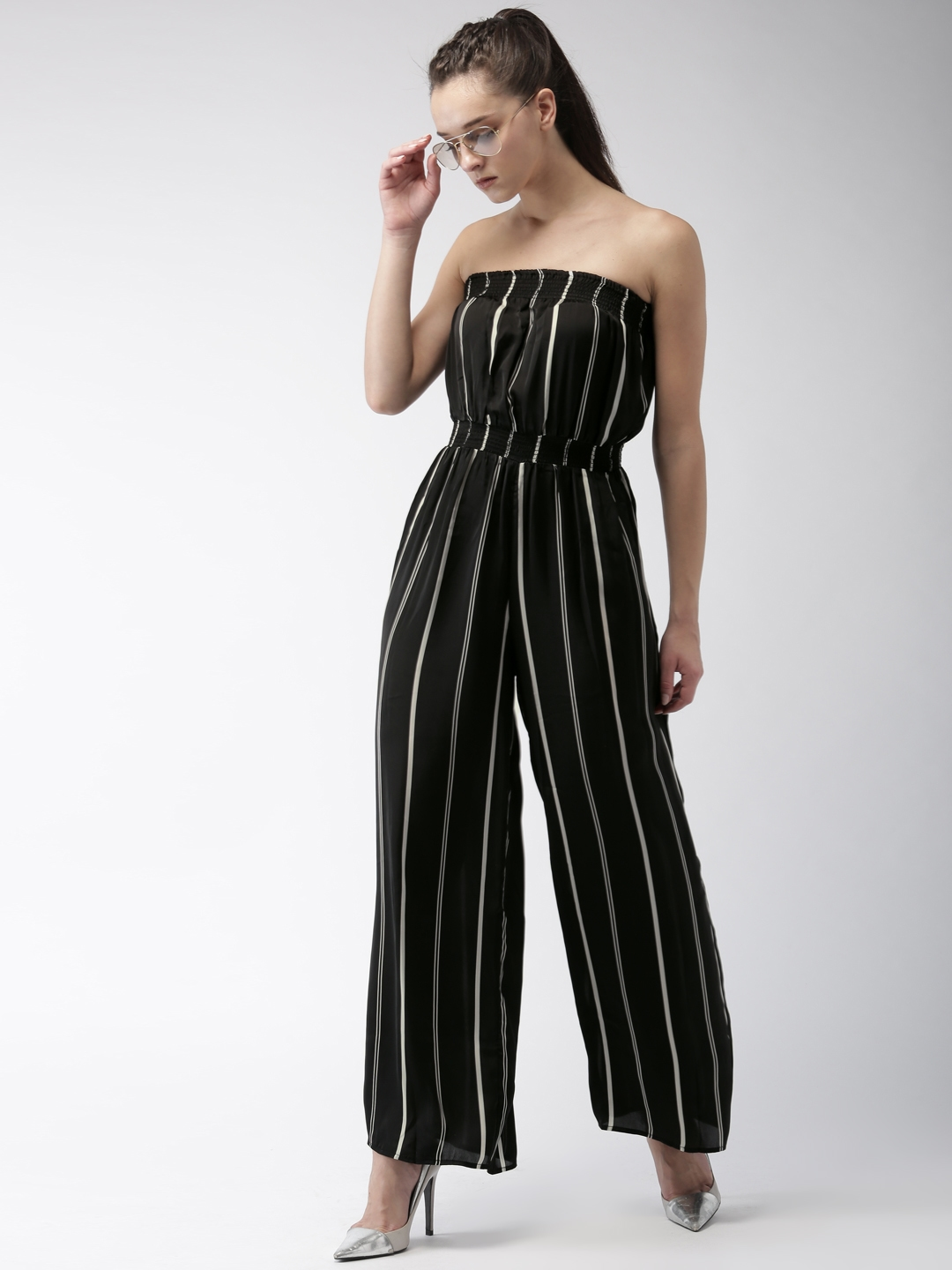 56ddb2bb2fe Buy FOREVER 21 Black   White Striped Basic Jumpsuit - Jumpsuit for ...