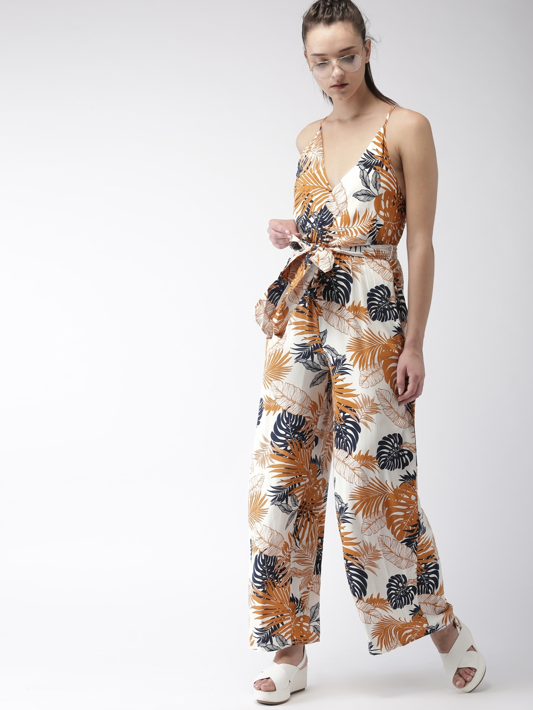 outlet for sale hot-selling clearance cheaper FOREVER 21 White & Brown Printed Basic Jumpsuit