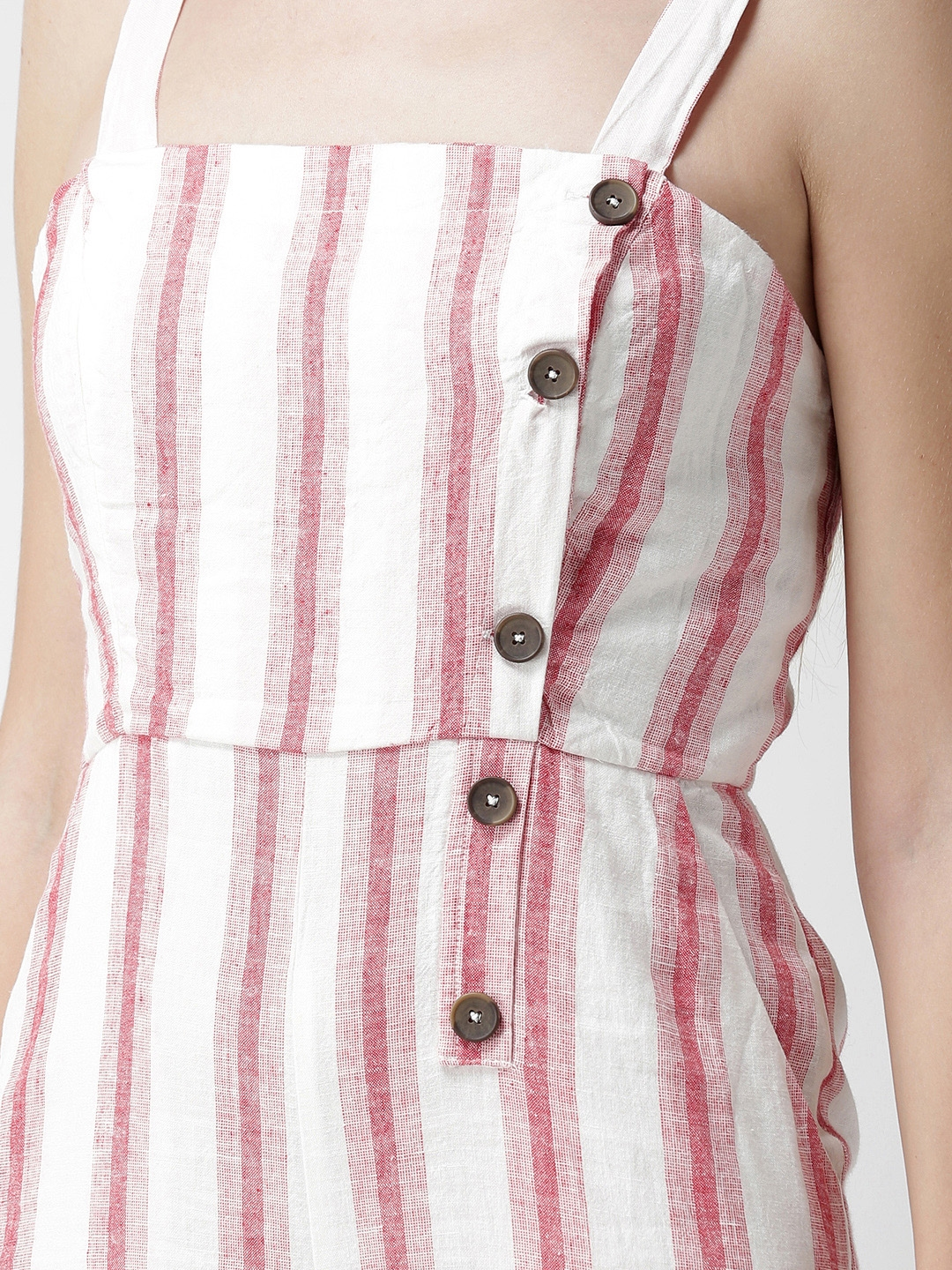 38960c4dd382 Buy FOREVER 21 Red   Off White Striped Playsuit - Jumpsuit for Women ...