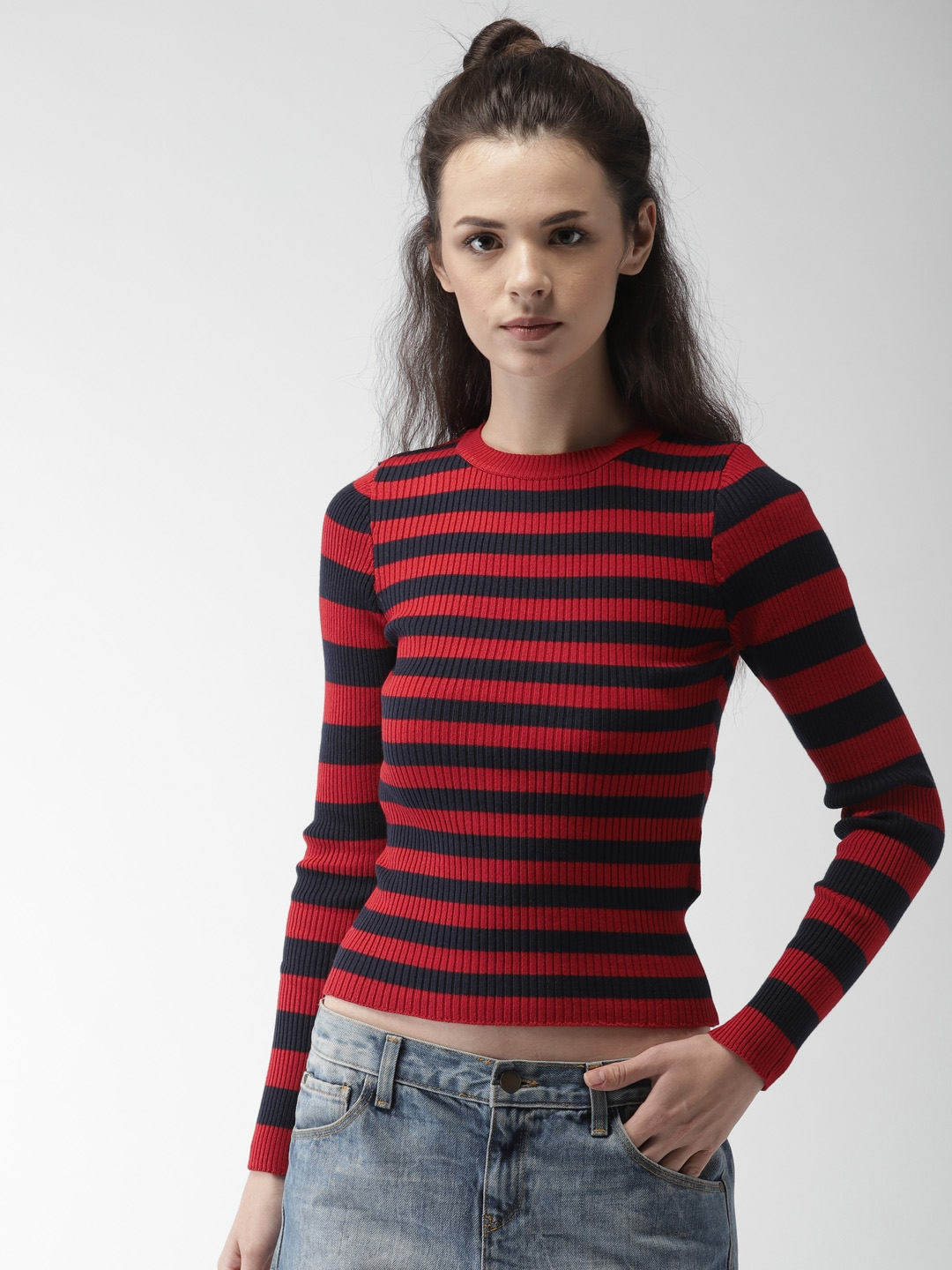 Buy FOREVER 21 Women Red   Navy Blue Striped Pullover - Sweaters for ... 02ea0db43
