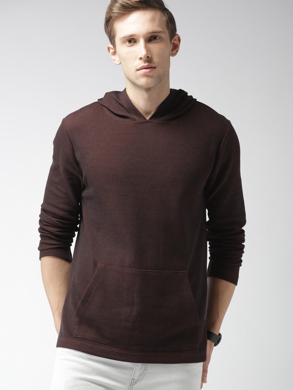 Buy FOREVER 21 Men Navy Blue   Red Striped Hooded Sweatshirt ... b19e49a62
