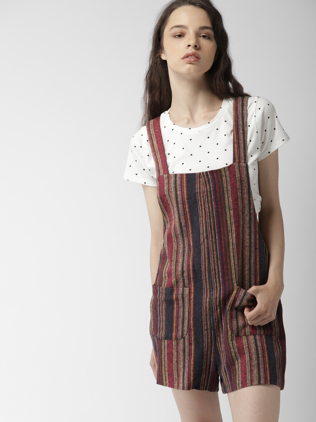 Buy Forever 21 Multicoloured Striped Playsuit Jumpsuit For Women