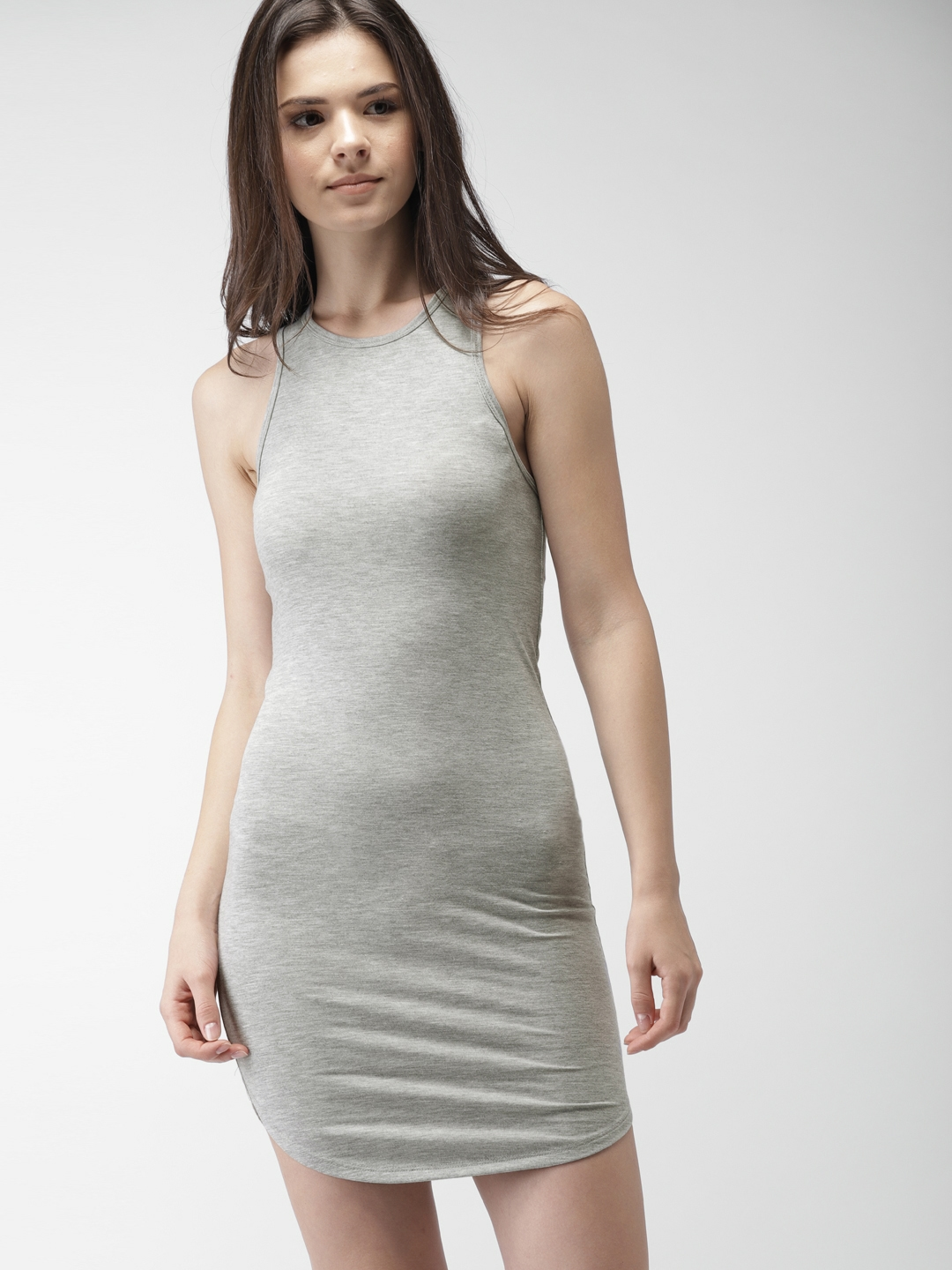 629845cee15 Buy FOREVER 21 Women Grey Solid Bodycon Dress - Dresses for Women ...