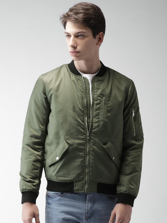 6a4be918447 Buy FOREVER 21 Men Olive Green Solid Bomber - Jackets for Men ...