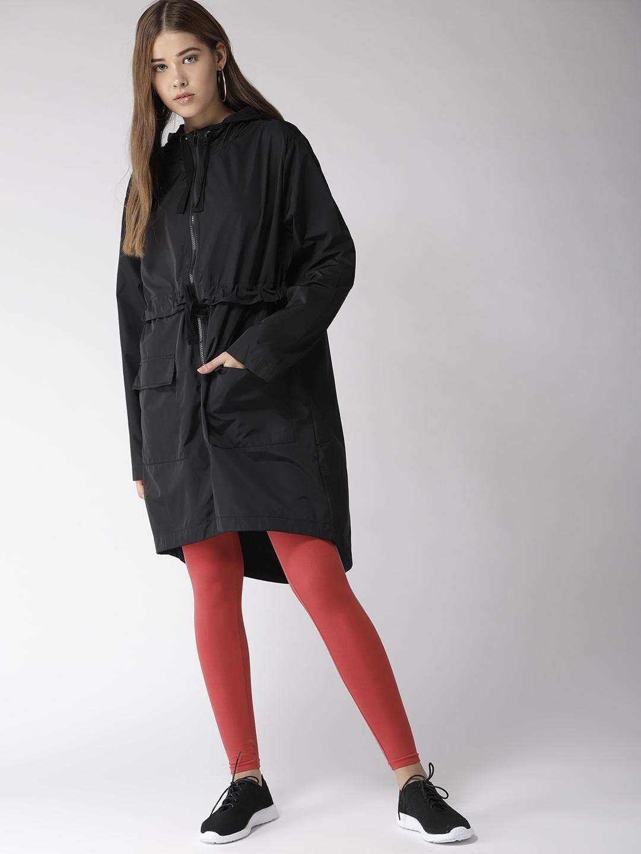 ffd5091beb91 Buy FOREVER 21 Women Black Solid Hooded Longline Parka Jacket ...