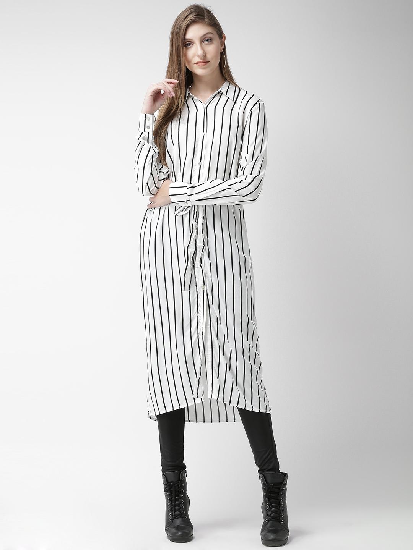 d2e9dd35da7 Buy FOREVER 21 Women White Striped Shirt Dress - Dresses for Women ...