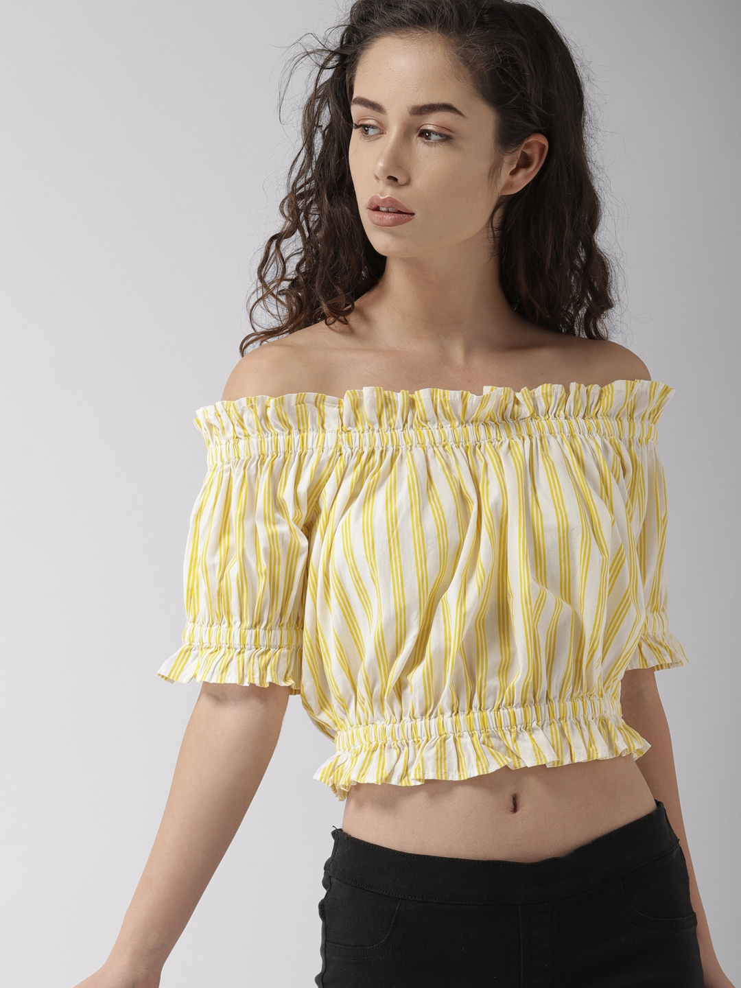 6fe7fa1937d0d5 Buy FOREVER 21 Women Yellow   Off White Striped Bardot Top - Tops ...