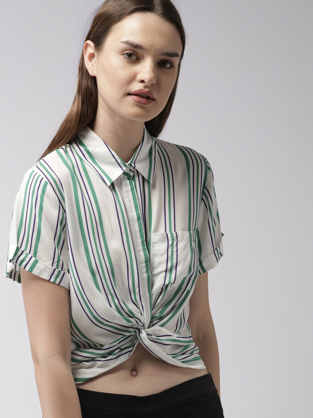 e01493bff8c Buy FOREVER 21 Women White Striped Shirt Style Top - Tops for Women ...
